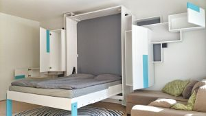 Sculptural wall-bed and cabinets - Full Open by Ahjotuli