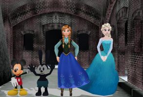[MMD] Mickey, Oswald, Anna and Elsa by ElMarcosLuckydel96