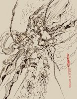 Nezha vs the RED kid- line ver by Alzheimer13
