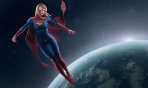 Supergirl oversee the earth by Moonarc