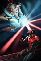 Ryu VS Cyclops Phoenix by GenghisKwan