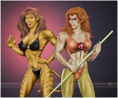 Tigra and Cheetara - colored by yatz