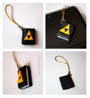 Zelda Triforce Book DS Charm by claremanson