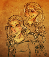 Valka and Astrid by ArtByEdyn