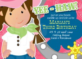 cowgirl birthday invite by one8edegree
