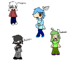 Four Pokemon trainers ocs by NaturisticLeafy