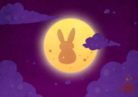 Bunny on the Moon by In-Sine