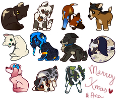 Christmas tags by FourDirtyPaws