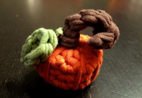 Tiny Recycled T-shirt Pumpkin by Adriellovesart