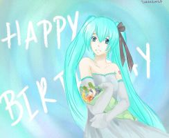 Happy 4th birthday Miku by Tamakichi