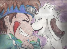 Kiba and Akamaru by titanstargirl