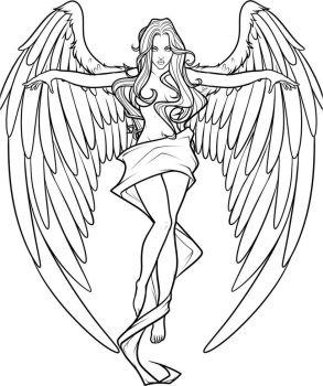 Cross angel Lines- White Background by DawnieDA