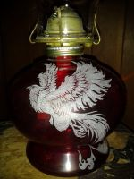Phoenix doodle on an old oil lamp by MadEtcha
