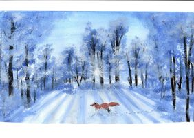 Fox in the Snow by Manumanue