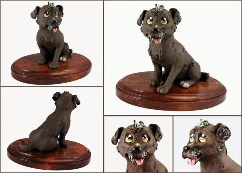 Angel the Terrier Mix Sculpture by LeiliaClay