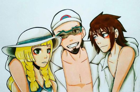 Professor Kukui and his assistants  by dextrizzle