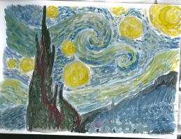 Starry Night watercolour by LuciaAntemis