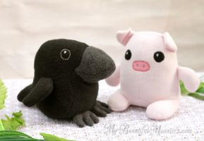 Cute Raven and  Piglet Couple Plushies by MyBeautifulMonsters