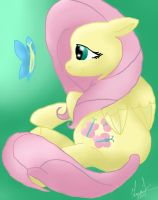 Fluttershy and a butterfly by MayaTeenLioness