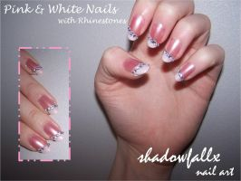 Pink and White Nails by shadowfallx