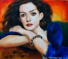 Oil Painting of Anne Hathaway by vince840927
