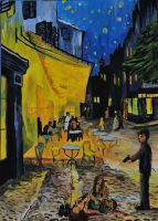 Murder at the Cafe Terrace at night by Dobbylove