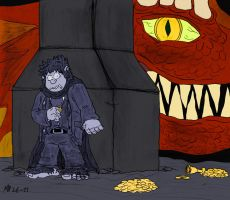 Bilbo hiding from Smaug by Mara999