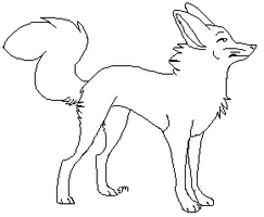 Pixel Fennec Lineart by ZazzyPaws