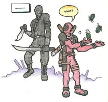 Snake Eyes and Deadpool by josh308