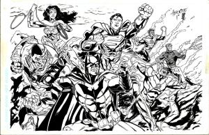 Justice League pinup by giberwitz