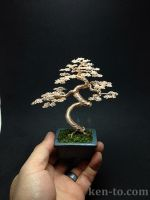 Large gold coiled trunk wire bonsai tree by Ken To by KenToArt