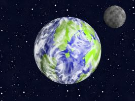 The Earth and the Moon by FractalMBrown