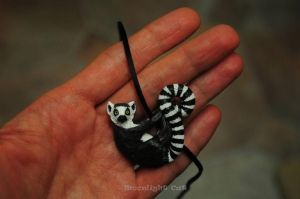 Ring tailed lemur pendant. by MoonlightCatHandmade
