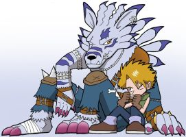 Yamato and WereGarurumon by SandikaRakhim