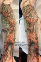 evil tree tattoo by mojoncio