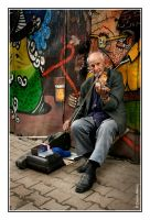 Old man with a fiddle by minimaOroccas