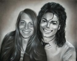 Michael Jackson and Giovanna - Charcoal Commission by secrets-of-the-pen