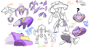 Genesect Detail Sketches by Xous54