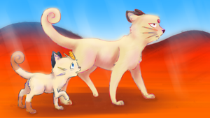 Persian and Meowth - The Never Ending Story by Alouncara