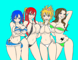 fairy Tail girls at the summer colored by DLeagueman