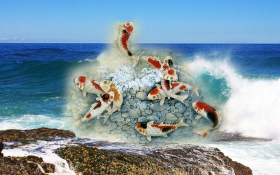 Fishes in the wave breakers by JNW-Art