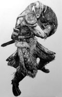 Skyrim Charcoal Drawing Full by RishanCooray