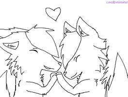 Wolf Couple LineArt by LavaSpinosaurus