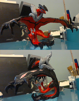 Polymer Clay Yveltal Statue by MHLizard