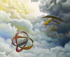 Sky Caravan, 2012, Oil on Panel, 26 x 30 inch by Masscape
