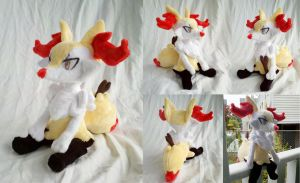 Sitting Braixen Plush by dolphinwing