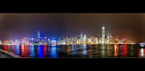 The Hong Kong Night Skyline by WiDoWm4k3r