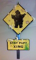 Ghostbusters Stay Puft Xing Crossing Sign by VitoTheCat