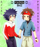 Pokemon #BW2 Protagonist and Rival by hyuugalanna
