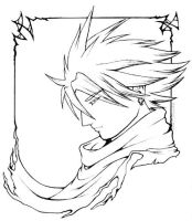 Cloud Strife: Profile -lineart by nachtwulf